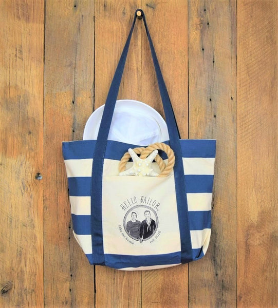 navy stripe hello sailor tote bag