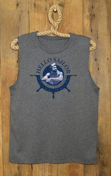 Hello Sailor Gray Sleeveless T-Shirt