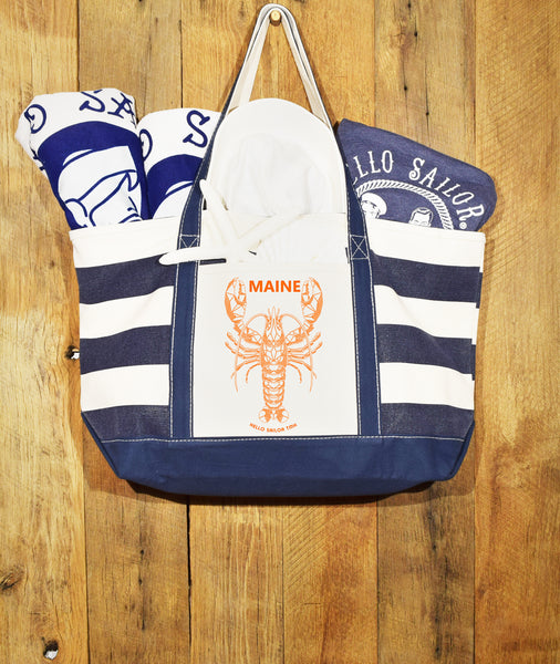Navy Stripe Orange Lobster bag