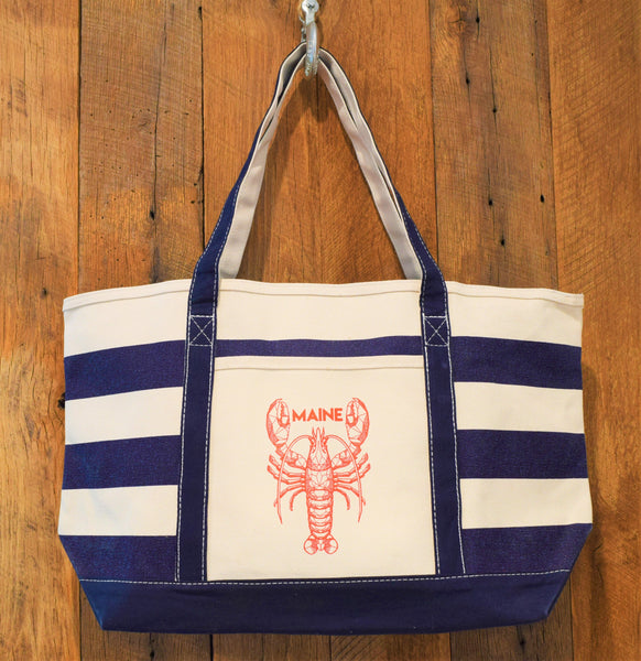 Navy Red Lobster Beach Bag