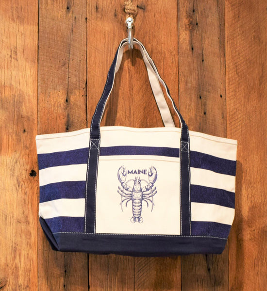 Navy Stripe Navy Lobster Bag