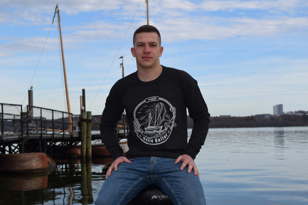 Hello Sailor Dark Gray Sweatshirt Modeled