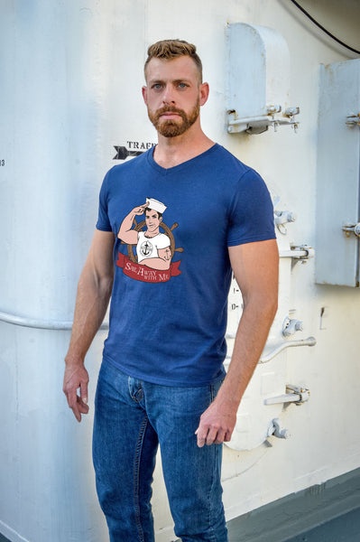 hello sailor blue sailor t shirt modeled