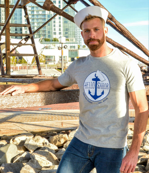 Hello Sailor Gray Gay T Shirts Modeled