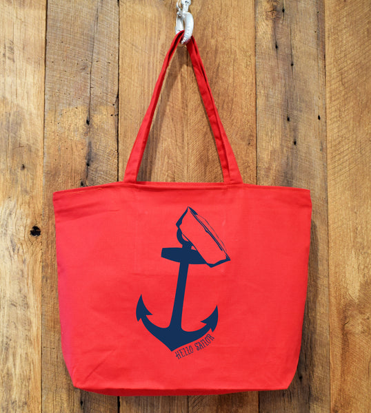 anchor hello sailor tote bag