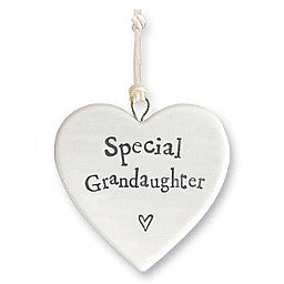 East of India porcelain heart Special Grandaughter