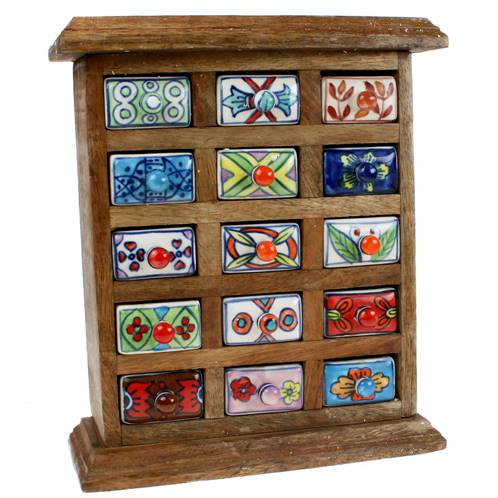 Wooden 15 Ceramic Spice Drawers