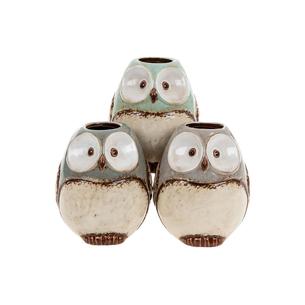 Village pottery small owl pot