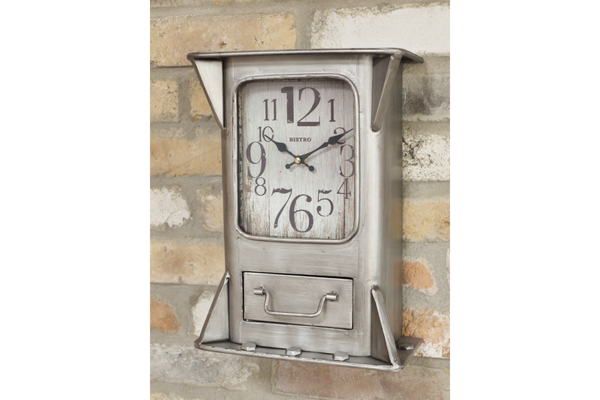 Metal Wall Clock with Drawer