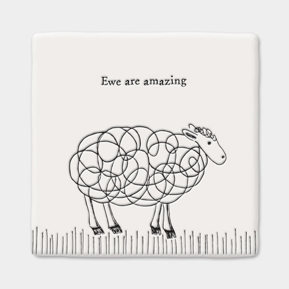Porcelain Square Coaster Sheep