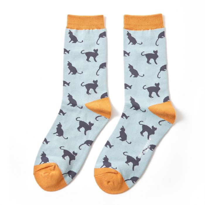 Bamboo Socks Cats Duck Egg