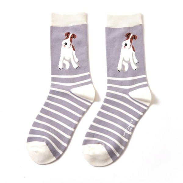 Bamboo Socks Fox Terrier Stripes Light grey
