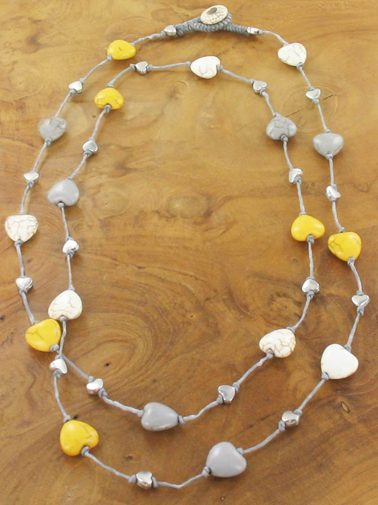 Heart necklace mustard, grey,cream