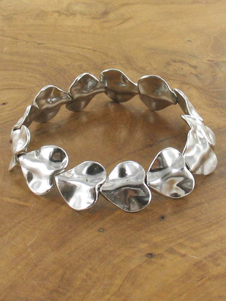 Silver Plated Beaten heart bracelet
