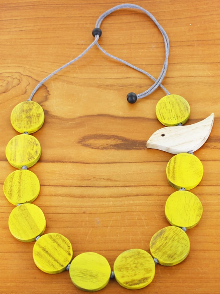 Mustard Wooden Bird Necklace