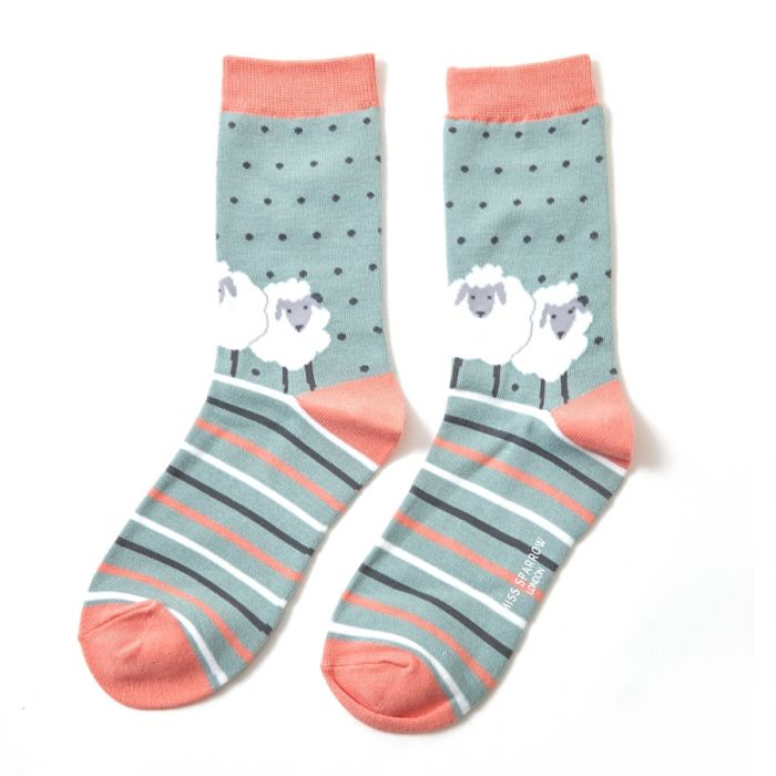 Bamboo Socks Sheep Aqua