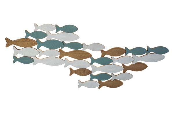 Shoal of wooden fish wall art