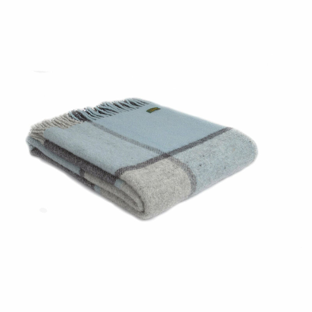 Tweedmill Lifestyle throw in Block Check Duck Egg
