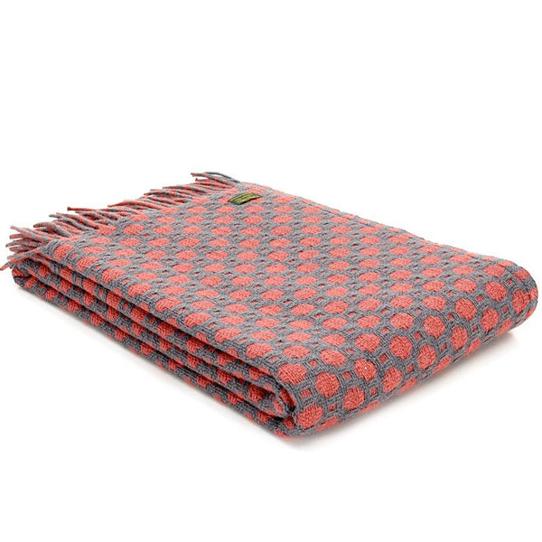 Tweedmill Lifestyle Crossroads throw Grey and Cranberry.