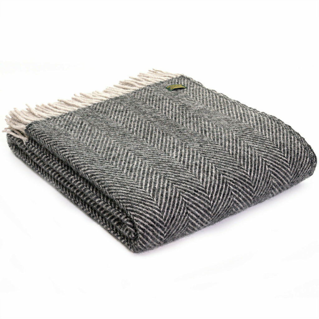 Tweedmill Lifestyle Herringbone throw Charcoal and Silver.