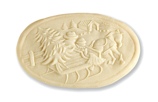 """Sleigh w/Covered Bridge"" ~ Springerle Cookie Mold"