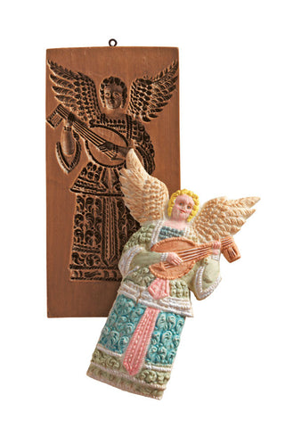 """Angel with Lute"" ~ Springerle Cookie Mold"