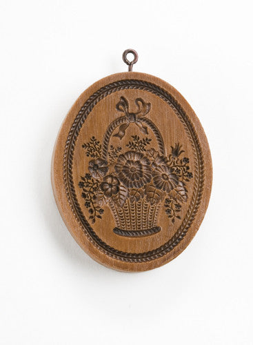 """Basket of Flowers Oval"" ~ Springerle Cookie Mold"
