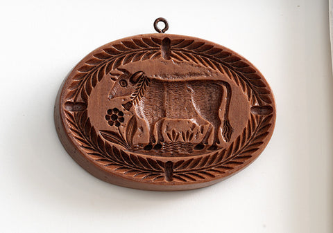 """Bessie the Cow with Bell"" ~ Springerle Cookie Mold"