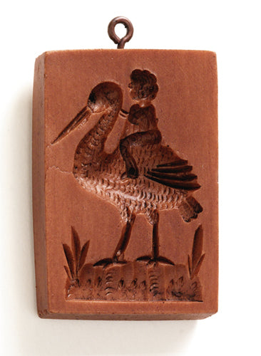 """Baby on a Stork"" ~ Springerle Cookie Mold"