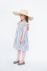 NAVY STRIPE dress with POM POM