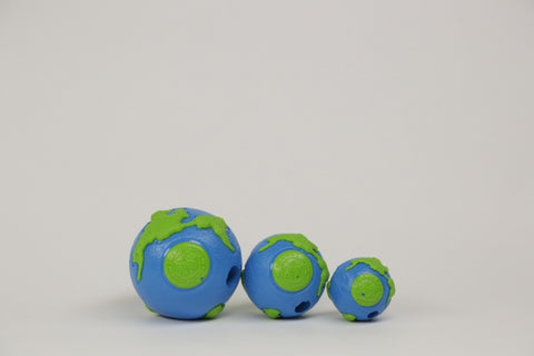 The Planet ball is made from the award-winning Orbee-Tuff material, which is 100% recyclable and non-toxic. Ball is durable, bouncy, buoyant, and perfect for tossing, fetching, and bouncing. Toy is infused with natural mint oil.