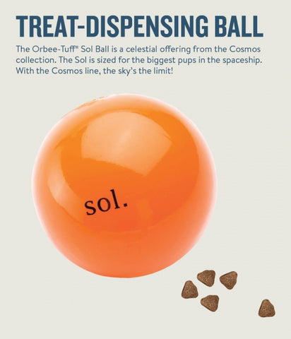 Sol is made from the award-winning Orbee-Tuff material, which is 100% recyclable and non-toxic. Ball is durable, bouncy, buoyant, and perfect for tossing, fetching, and bouncing. Toy is infused with natural mint oil.