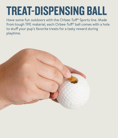 Your dog is sure to get a hole-in-one with this authentic golf ball made from the award-winning Orbee-Tuff material, which is 100% recyclable and non-toxic. Ball is durable, bouncy, buoyant, and perfect for tossing, fetching, and bouncing. Excellent sized ball for smaller to medium breed dogs.