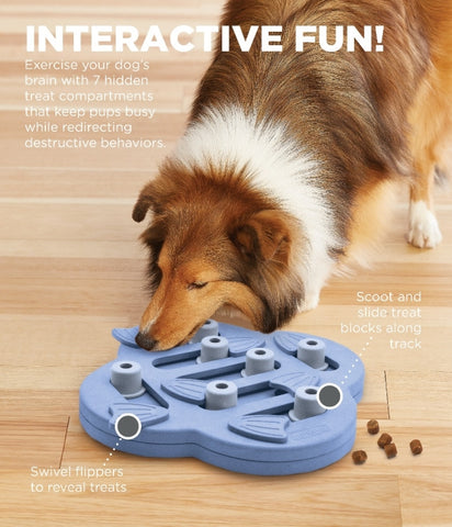 The Dog Hide n' Slide puzzle is a positive activity that will strengthen the human/canine bond. Fun for all dogs, regardless of age, size, or breed. Puzzle is made from a non-toxic composite material that is easy to clean! No removable parts.