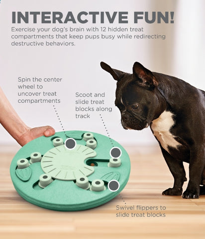 The Dog Worker puzzle is a positive activity that will strengthen the human/canine bond. Fun for all dogs, regardless of age, size, or breed. Puzzle is made from a non-toxic composite material that is easy to clean! No removable parts.