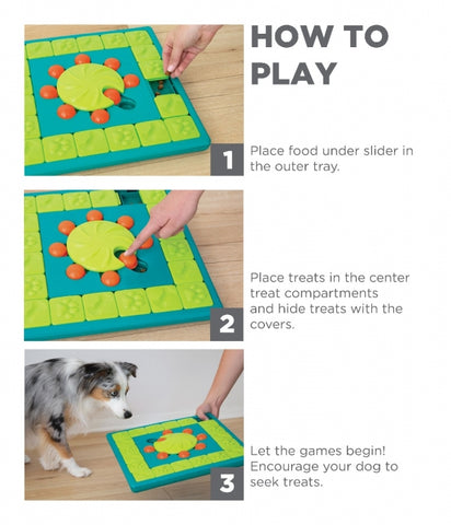 The MultiPuzzle Dog Game is ideal for dogs who have mastered levels 1-3 of the Nina Ottosson puzzle line. Puzzle features a treat tray and 8 treat compartments with sliding blocks, covers, and locking inner wheel. Your dog will enjoy pawing, sniffing, and nudging the blocks around to reveal the hidden treats.