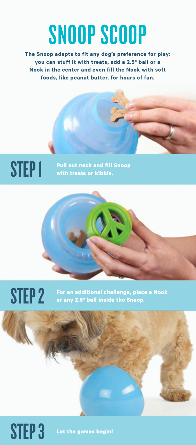 Nook ball is made from the award-winning Orbee-Tuff material, which is 100% recyclable and non-toxic. Ball is durable, bouncy, buoyant, and perfect for tossing, fetching, and bouncing. Stuff with tiny treat bites, nut butter, or cheese. Toy is infused with natural mint oil.