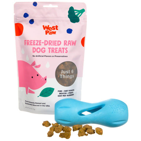 Freeze-dried raw, nutrient-dense dog treats from West Paw your dog will love. Made from humanely-raised, sustainably-sourced, cage-free, hormone-free, and antibiotic-free meat. Crafted with farm-fresh fruits and vegetables from the Northwest US.