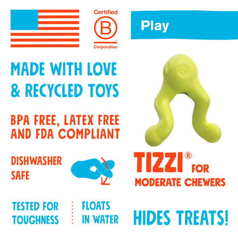 Tizzi is a cleverly designed treat toy that has multiple functions. Stuff the compartment with treats, and twist the handles together to keep your dog working to release the treats. The unique shape makes Tizzi fun to tug, shake, or fetch. The aerodynamic shape allows it fly further than typical treat toys.