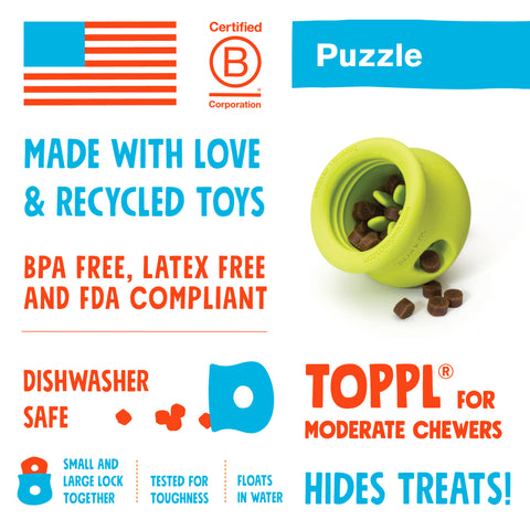 Toppl is an award-winning puzzle toy that can be stuffed full of your dog's favorite snacks. This interactive treat toy is topsy, turvy, and wobbly fun that keeps an active dog busy and brings out the playful side of an older dog.
