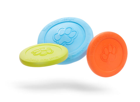 Zisc is a lightweight, high-flying, and durable frisbee. Toy floats and flies far. Frisbee is soft and pliable, making it gentle on dog teeth and gums. Built for gentle chewers and made from Zogoflex, a bendy, stretchy, and bouncy material that is durable but not rigid. Toys are gentle on your dog's teeth.
