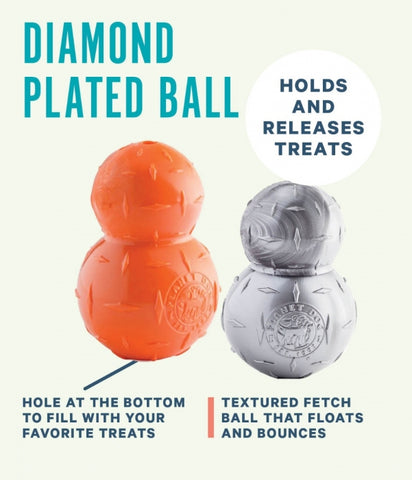 Diamond Plate Double-Tuff is a textured toy that is ideal for chewers. Made from 100% recyclable and non-toxic materials. Toy is durable, bouncy, buoyant, and perfect for tossing, fetching, and bouncing. Its asymmetrical doubled design makes for unpredictable bounces that dogs love to chase.