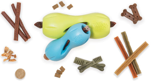Qwizl is an award-winning toy designed to extend the life of expensive dog treats while keeping your dog busy. The side openings release scent while the continuous interior opening and flexible ridges allow treats to extend out while staying in place. The curved shape makes Qwizl easy for dogs to hold with their paws.