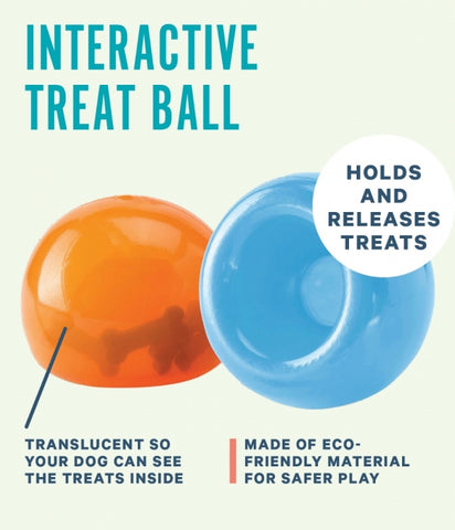 Snoop is a translucent and pliable ball with a deep crevice that conceals treats. Dogs will need to pounce, nudge, nose, and nibble the ball to release the treats hidden inside. This interactive puzzle toy keeps dogs engaged, drives brain stimulation, and promotes self-play.