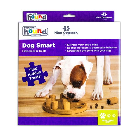 The Dog Smart puzzle helps reduce destructive behavior and fights boredom by keeping your dog busy exercising their mind. A positive activity that will strengthen the human/canine bond. Fun for all dogs, regardless of age, size, or breed. Puzzle is made from a non-toxic composite material that is easy to clean!