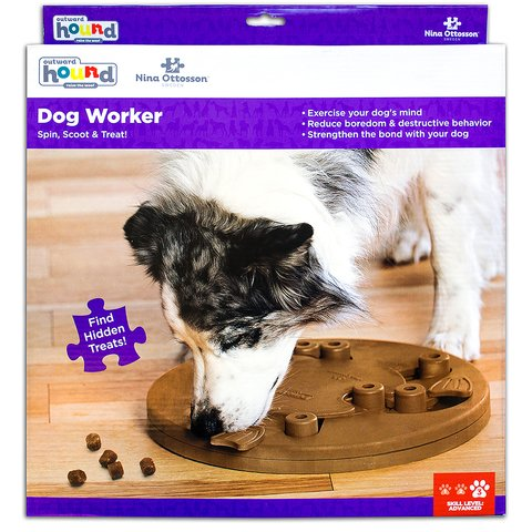 The Dog Worker puzzle helps reduce destructive behavior and fights boredom by keeping your dog busy exercising their mind. A positive activity that will strengthen the human/canine bond. Fun for all dogs, regardless of age, size, or breed. Puzzle is made from a non-toxic composite material that is easy to clean! No removable parts.