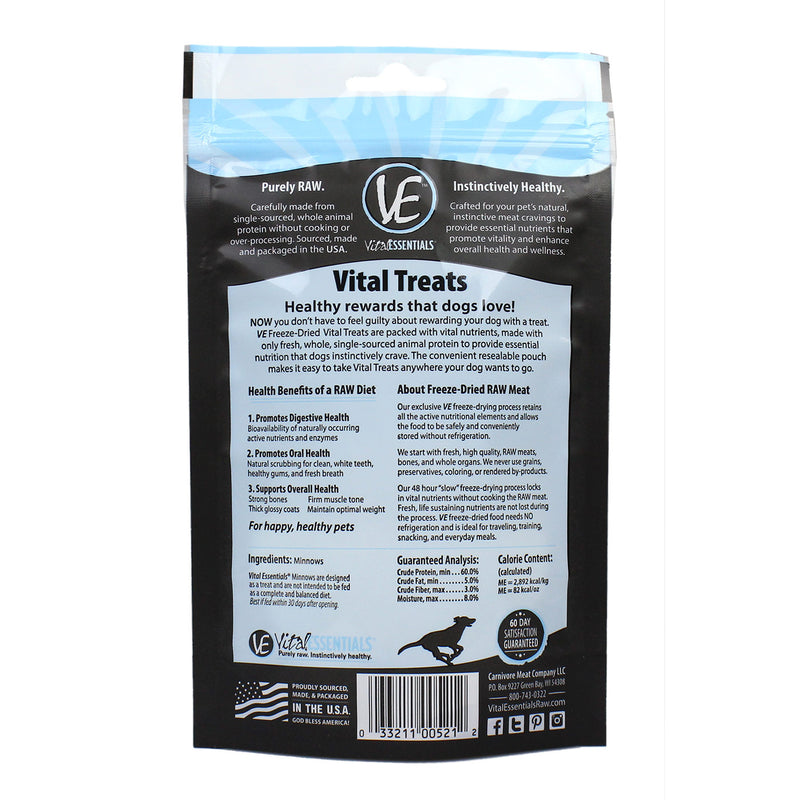 Vital Essentials Minnows are freeze-dried whole minnows. These high-value, smelly fish snacks are perfect for training, and can be enjoyed by dogs and cats.