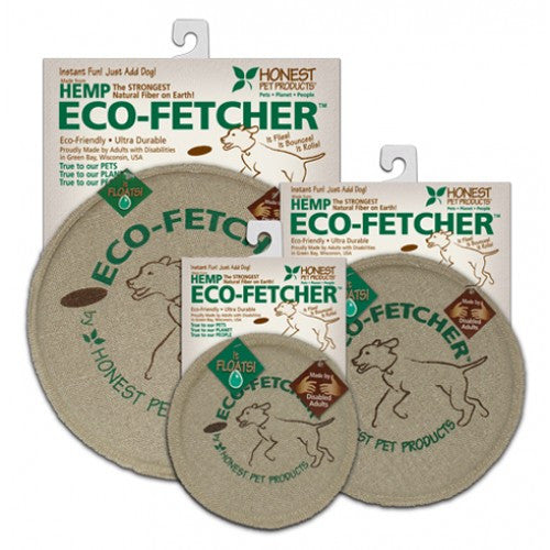 The Eco Fetcher is a soft frisbee that is made from natural hemp and compressed organic wool.