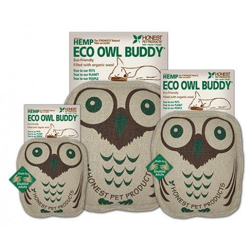 The Eco Owl Buddy is made from natural hemp and stuffed with organic wool. It is the perfect shape and size for dogs that love to carry toys around and makes a great snuggle buddy at night.