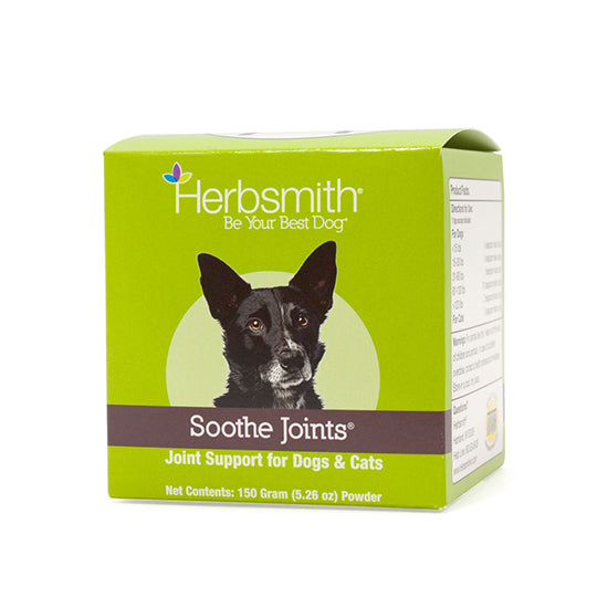 Herbsmith Soothe Joints™ is useful for older dogs and cats experiencing occasional joint stiffness, soreness, and tenderness associated with normal, everyday activities. It supports the structural integrity of joints and connective tissues, and promotes cartilage development and joint health.